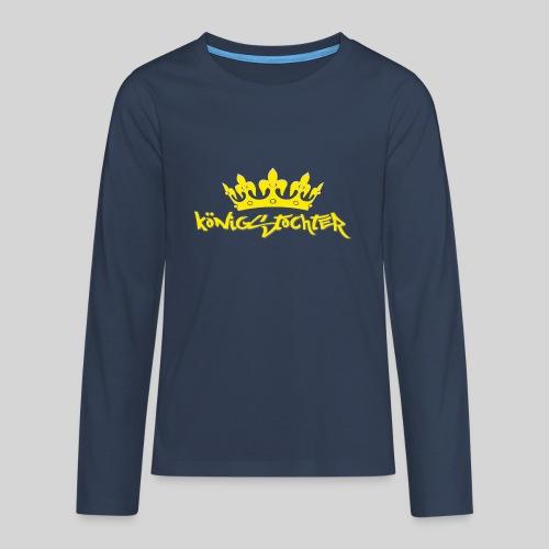Königstochter m. Krone über der stylischen Schrift - Teenager Premium Langarmshirt
