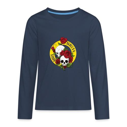 SKULL'S N ROSES - Camiseta de manga larga premium adolescente