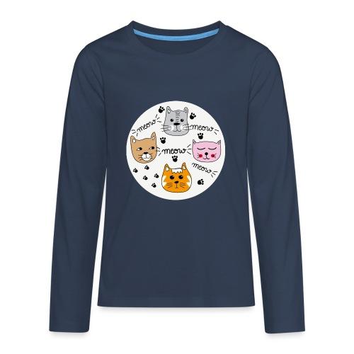 Miau Meow Katzen Cats - Teenager Premium Langarmshirt