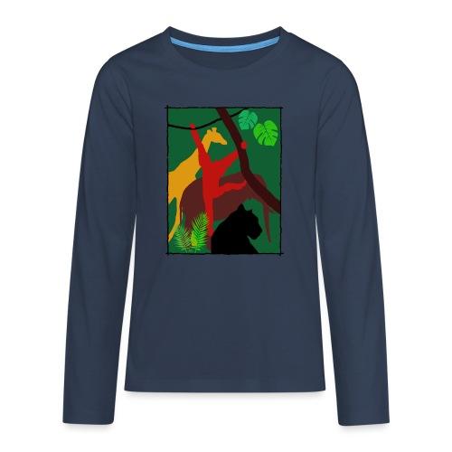 Dschungel - Panther-Affe-Elefant-Giraffe - Teenager Premium Langarmshirt