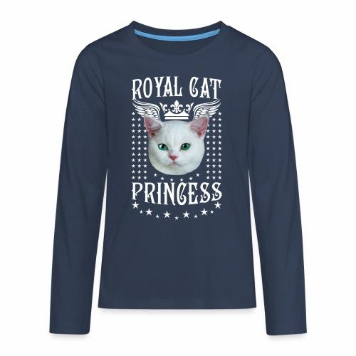 26 Royal Cat Princess white feine weiße Katze - Teenager Premium Langarmshirt