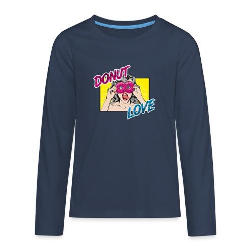 Popart - Donut Love - Zunge - Süßigkeit - Teenager Premium Langarmshirt