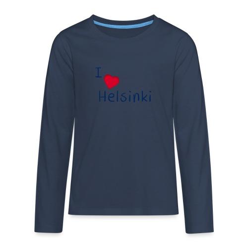 I Love Helsinki - Teinien premium pitkähihainen t-paita
