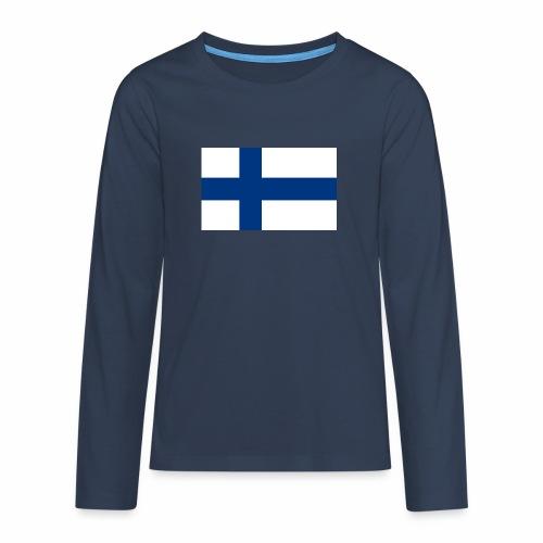 Suomenlippu - tuoteperhe - Teinien premium pitkähihainen t-paita