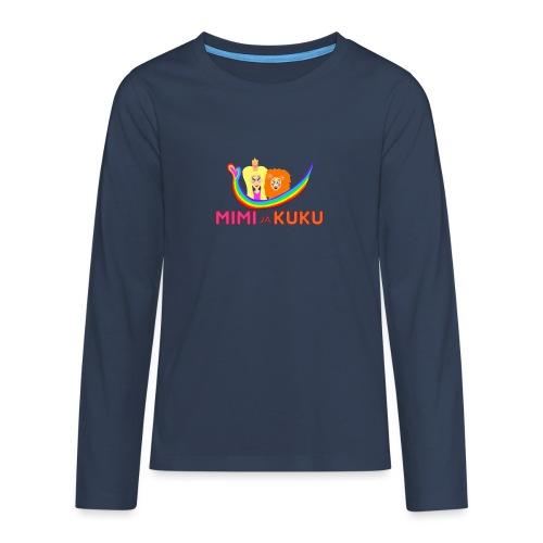 Mimi ja Kuku- sateenkaarilogolla - Teinien premium pitkähihainen t-paita