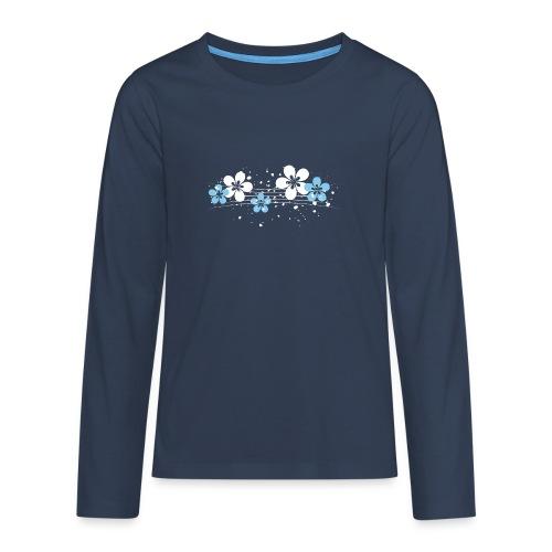 white and blue floral print - Koszulka Premium z długim rękawem dla nastolatków