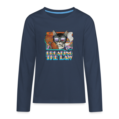 Crime Cat in Shades - Braking the Law - Koszulka Premium z długim rękawem dla nastolatków