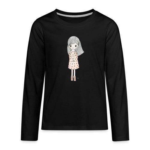 meisje met roze jurk - Teenager Premium shirt met lange mouwen