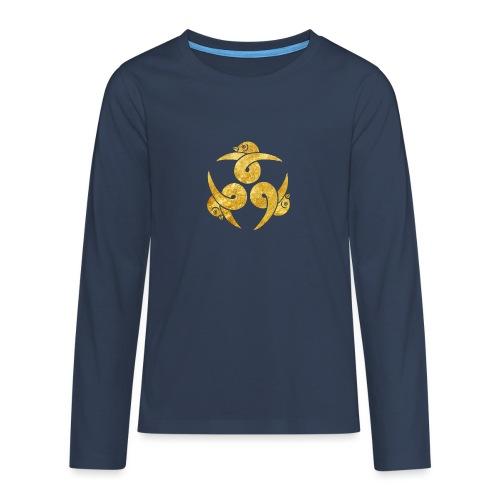 Three Geese Japanese Kamon in gold - Teenagers' Premium Longsleeve Shirt