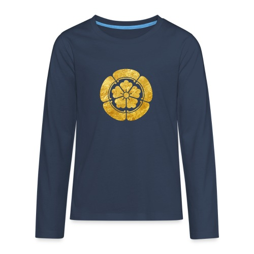Oda Mon Japanese samurai clan faux gold on black - Teenagers' Premium Longsleeve Shirt