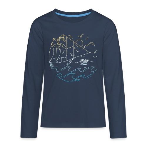 Schiff mit Sonne und Meer - Teenager Premium Langarmshirt