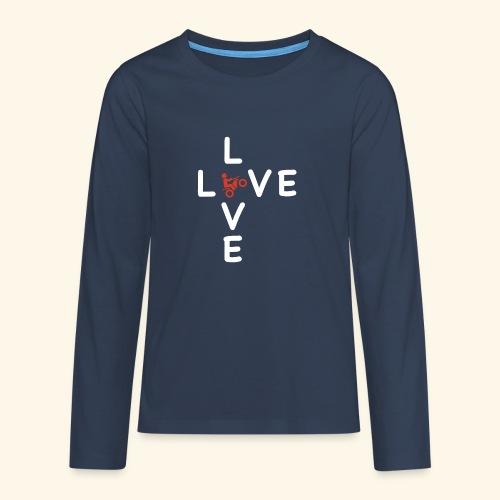 LOVE Cross white wheely red 001 - Teenager Premium Langarmshirt