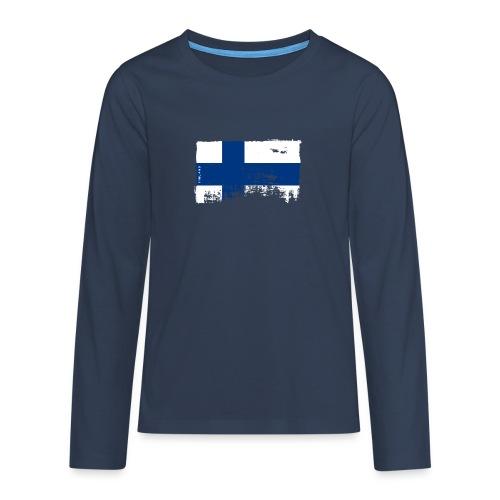 Suomen lippu, Finnish flag T-shirts 151 Products - Teinien premium pitkähihainen t-paita