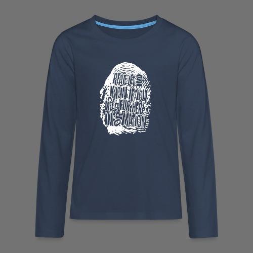 Fingerprint DNA (hvid) - Teenager premium T-shirt med lange ærmer