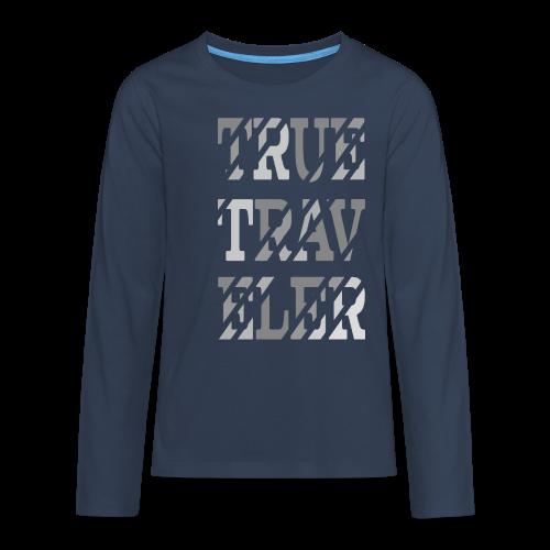 True Traveler Grey design - Teinien premium pitkähihainen t-paita
