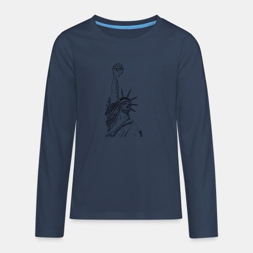 Statue of Liberty, fist held high - Camiseta de manga larga premium adolescente