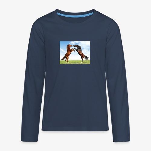 kaksi hevosta - Teinien premium pitkähihainen t-paita