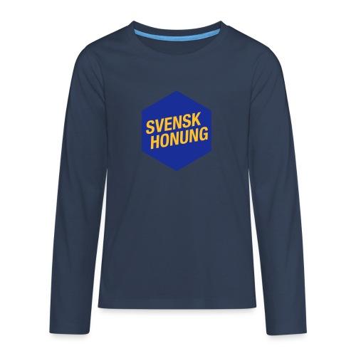Svensk honung Hexagon Blå/Gul - Långärmad premium T-shirt tonåring