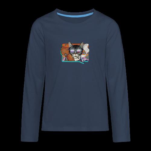 Crime Cat in Shades - Koszulka Premium z długim rękawem dla nastolatków