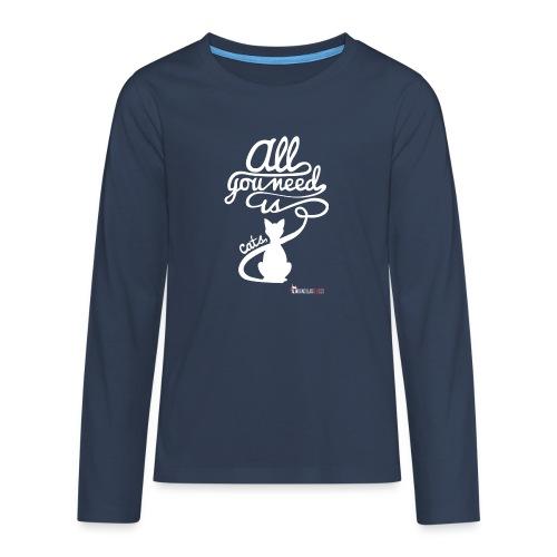 allyouneedblanco-png - Camiseta de manga larga premium adolescente