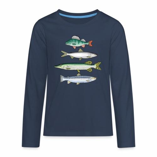 FOUR FISH - Ahven, siika, hauki ja taimen tuotteet - Teinien premium pitkähihainen t-paita