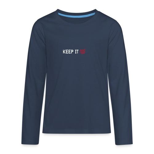 KEEP IT 100 WIT png - Teenager Premium shirt met lange mouwen