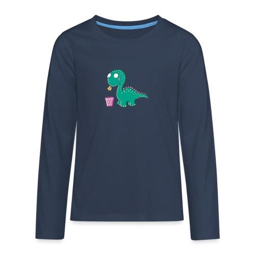 Kleiner Dinosaurier mit Blumentopf - Teenager Premium Langarmshirt