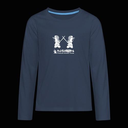 fka team logo white - Teinien premium pitkähihainen t-paita