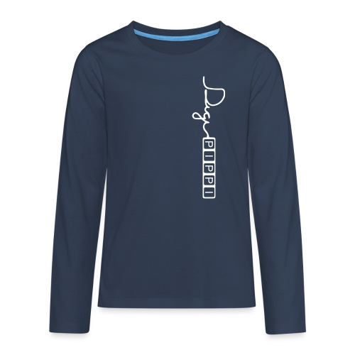 DP Logo White - Teenager premium T-shirt med lange ærmer