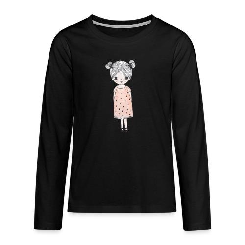 lachend meisje met knotjes - Teenager Premium shirt met lange mouwen