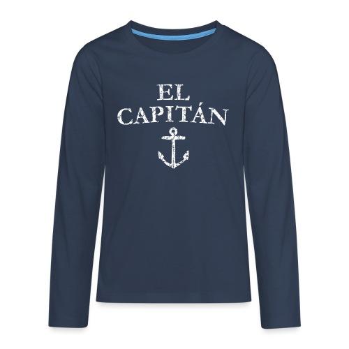El Capitan Anker (Vintage Weiß) Käpt'n Segeln - Teenager Premium Langarmshirt