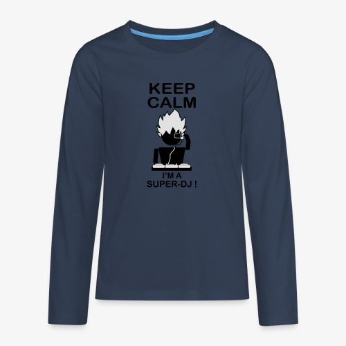 KEEP CALM SUPER DJ B&W - T-shirt manches longues Premium Ado