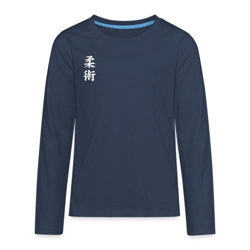 jiu-jitsu på japansk og logo i hvid - Teenager premium T-shirt med lange ærmer