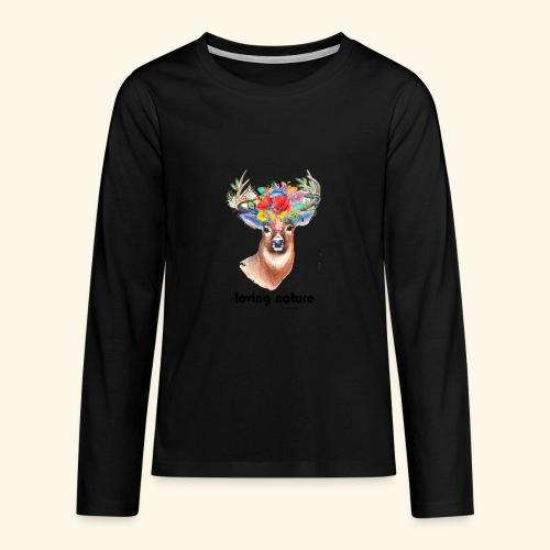 Ciervo con flores - Camiseta de manga larga premium adolescente