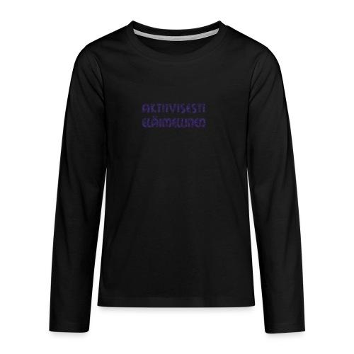 Aktiivisesti eläimellinen - Violetti - Teinien premium pitkähihainen t-paita