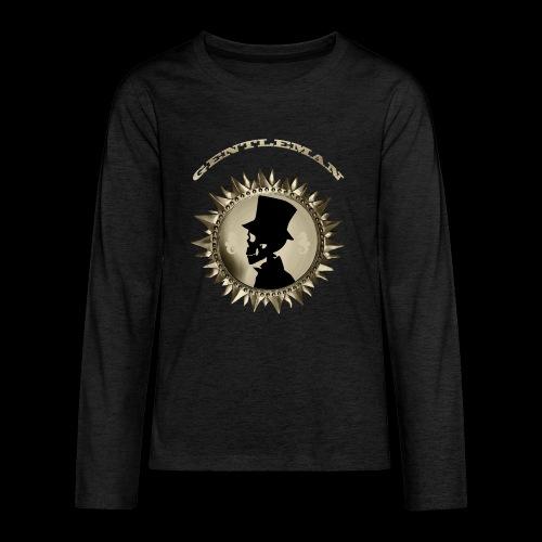 TÊTE DE MORT SILHOUETTE PORTRAIT GENTLEMAN - T-shirt manches longues Premium Ado