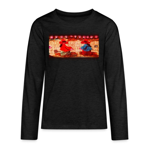 Dos Paisanitas tejiendo telar inca - Teenagers' Premium Longsleeve Shirt