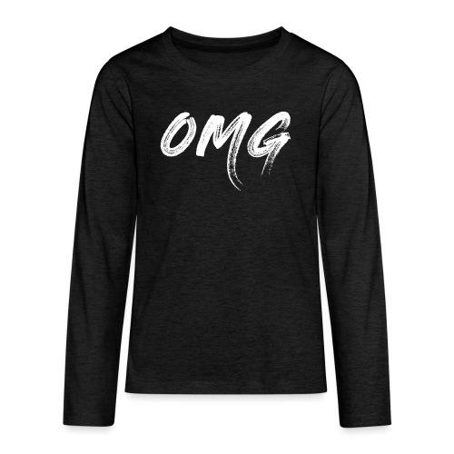 OMG, valkoinen - Teinien premium pitkähihainen t-paita