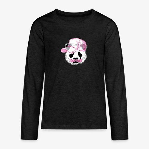 Panda - Pink - Cap - Mustache - Teenager Premium Langarmshirt