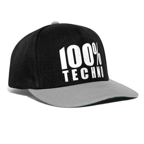 100% Techno Schriftzug Floorfreude Rave Festivals - Snapback Cap
