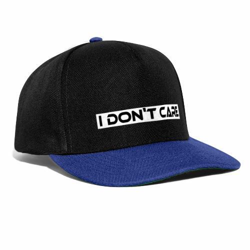 I DON T CARE Design, Ist mit egal, schlicht, cool - Snapback Cap