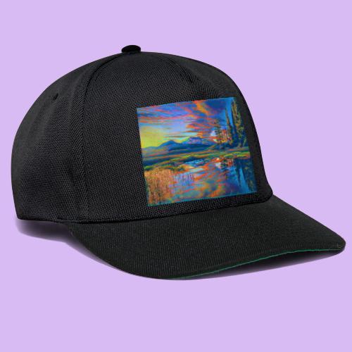 Paesaggio al tramonto con laghetto stilizzato - Snapback Cap
