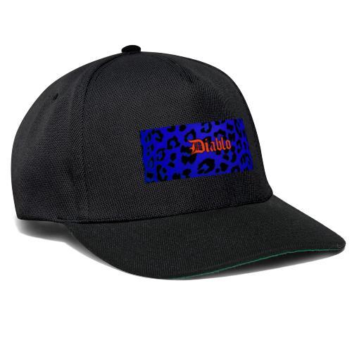 Diablo gotic lettering pattern blue leopard - Gorra Snapback