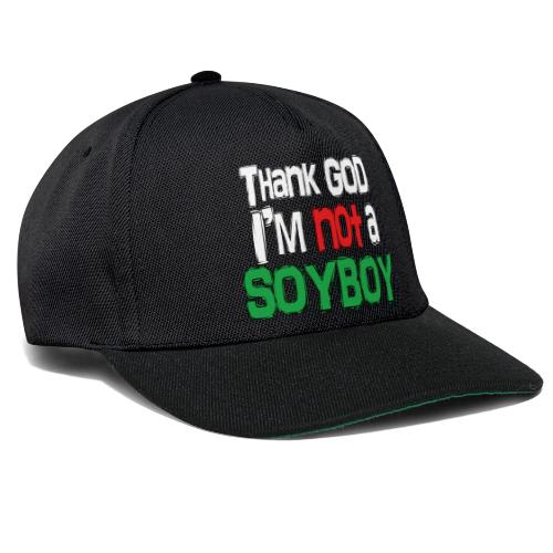 Thank God I'm NOT A SOYBOY white red green - Snapback Cap