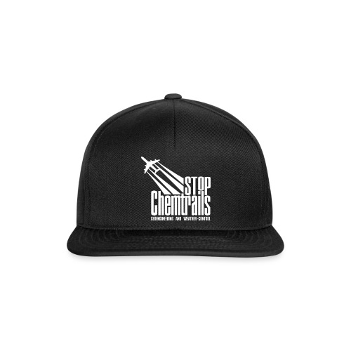 STOP CHEMTRAILS - white print - Snapback cap