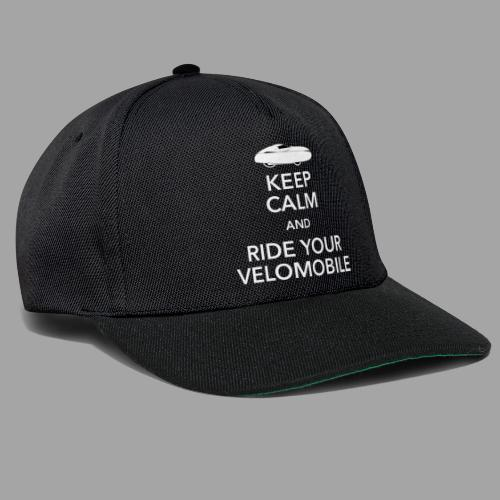 Keep calm and ride your velomobile white - Snapback Cap