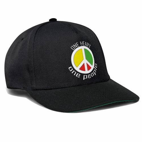One Heart, One People - Peace - rot, gelb, grün - Snapback Cap