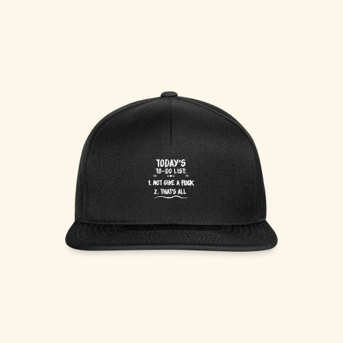 TODAY´S TO-DO LIST - Snapback Cap