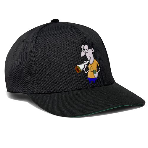 Kiffer Karikatur mit Joint und Bier in der Hand - Snapback Cap