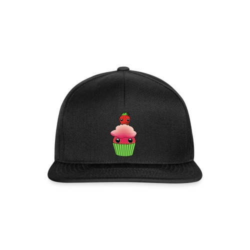 Kawaii cupcake with a strawberry with eyes - Snapback Cap